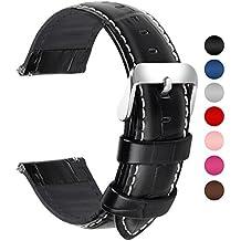 edd6ea49f004 Fullmosa 18mm 20mm 22mm 24mm Bracelet Montre Cuir Véritable, 7 Couleurs  Bamboo Bracelet de Montre