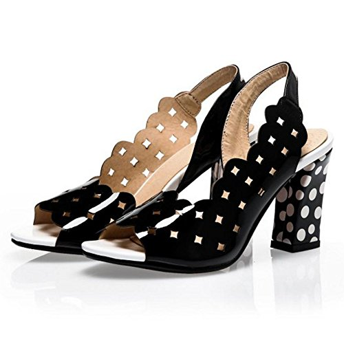 TAOFFEN Damen Elegant Ausgeschnitten Schlupfschuhe Sandalen Peep-toe Party Heels Schuhe Schwarz