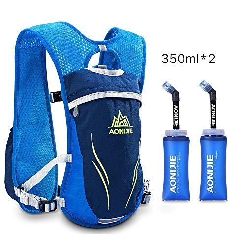 Imagen de aonijie– de hidratación  6l con 1l agua vejiga/350ml botellas ligero  para ciclismo running, anj885 blue 350ml