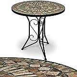 Mosaiktisch Gartentisch Balkontisch Bistrotisch Beistelltisch Kaffeetisch Tisch stabiler, wetterfester Tischgestell handgefertigte Mosaik Tischplatte Ø 60 cm - Modell Barcelona - weitere Modellauswahl
