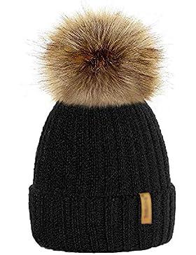 mioim Mutter & kinder Mütze Strickmütz Winter Warm Hüte Beanie für Baby Mädchen Jungen und Damen mit Pelz Bommel