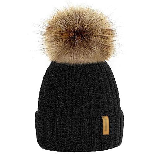 mioim Mutter & kinder Mütze Strickmütz Winter Warm Hüte Beanie für Baby Mädchen Jungen und Damen mit Pelz Bommel (Erwachsene 17cm*22cm, Schwarz)