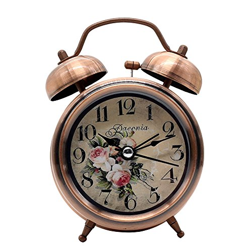 Classico sveglia a doppia campana, pingenaneer sveglie con luce notturna, sveglia di quarzo analogico con allarme forte, funzionamento silenzioso e stile vintage (bronzo)