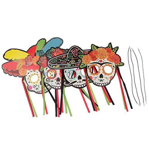 P Prettyia 4X Mexiko Dia de los Muertos Mask Los Muertos Maske für Halloween Karneval usw. (De Kostüme Weibliche Dia Los Muertos)