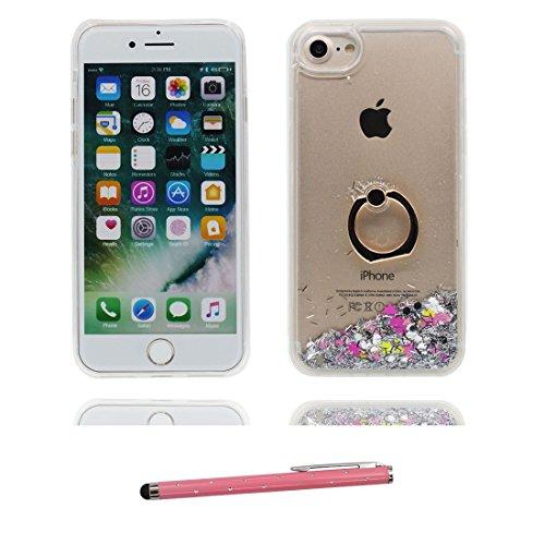 """iPhone 7 Coque, Étui Cover pour iPhone 7 4.7"""", Bling Glitter Fluide Liquide Sparkles Sables Shell iPhone 7 Case 4.7"""", Pink Love Résistant à la poussière Scratch ring Support & stylet # 7"""