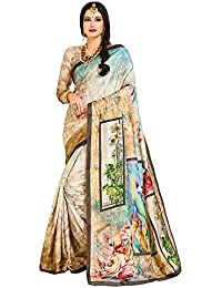 Applecreation Women's Paper Silk Grey & Brown Saree With Blouse Latest Collection (Free Size_MDWRP2210 Sarees)