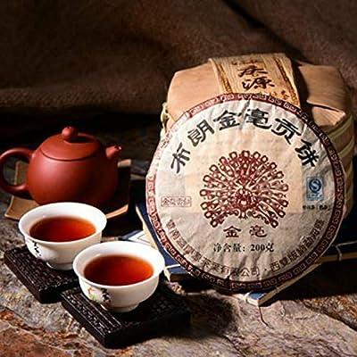 Yunnan Puerh gâteau de thé mûr Jinmao Gong arbre brun vieux 200g gâteau de thé cuit (0.44LB) Thé Pu'er Thé noir Puer thé thé chinois thé Pu-il thé shu cha Puerh nourriture saine nourriture vert vieux arbres thé Pu erh cuit thé rouge