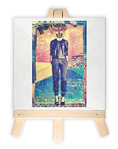 Frau mit Tigerkopf, Format: 15x15 cm, Minileinwandbild inkl. Staffelei, kreativer Dekoartikel & Geschenkartikel für jeden Anlass. Sehr schön im Büro, Wohnzimmer, Kinderzimmer, Schlafzimmer oder Arbeitszimmer. (Frau Löwin Kostüm)