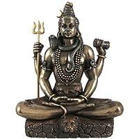CraftVatika - Statuetta ornamentale di Shiva in posa su foglia di loto