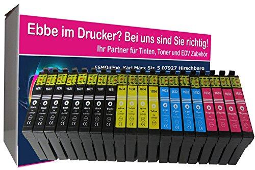 ESMOnline 20 komp. XL Druckerpatronen als Ersatz für Epson Workforce Serie (Patronen T16xx Schwarz/Blau/Rot/Gelb) (200 Epson Gelb Patronen Tinte)