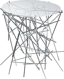 Alessi A di Blow Up Petite table avec base en acier chromé et plan en verre