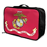 Portable Luggage Duffel Bag Flag of The United States Marine Corps Travel Bags Carry-on in Trolley Handle