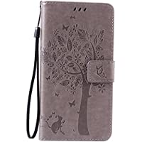 Samsung Galaxy Note 5 Case Leather [Gray], Cozy Hut [Wallet Case] Premium Soft PU Leather Notebook Wallet Embossed Flower Tree Design Case with [Kickstand] Stand Function Card Holder and ID Slot Slim Flip Protective Skin Cover for Samsung Galaxy Note 5 / SM-N9200 5,7- Gray