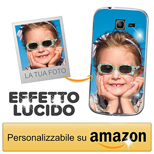 Cover Personalizzata con Effetto Lucido per Samsung Galaxy Trend Lite con la Tua Foto, Immagine o Scritta - Custodia Morbida in TPU Gel Trasparente - Stampa di altissima qualità