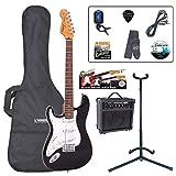 Encore LH-E6BLK Pack de Guitare électrique Gaucher Noir