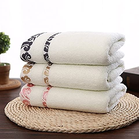 GreForest 3PCS Beige Cotton Embroidered Hand Towel Lucky Clouds Face