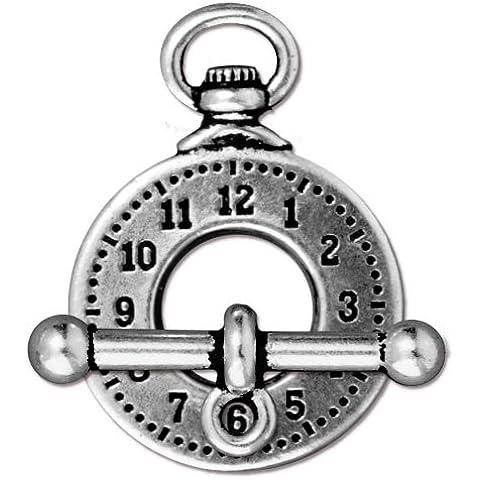 Antiqued plateado estaño sin plomo chapado en reloj Toggle cierre 29mm (1)