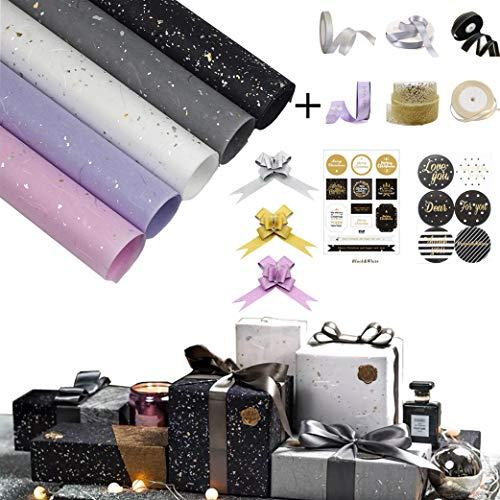 sfesnid 8 X Geschenkpapier Golddruck(60 X 60CM Pro Rolle) + Satinband + Ziehschleife Verpackung für Geschenk Geburtstag Hochzeit Taufe Valentines Weihnachten Geschenkverpackung