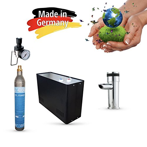 Sprudel aus dem Wasserhahn! Untertisch-Trinkwassersystem - Trinkwassersprudler Sprudel-Lok - NEUHEIT! inkl. 1-Weg-Zusatzarmatur MORA + 425 g CO2 Zylinder und Anschluss-Set. Made in Germany