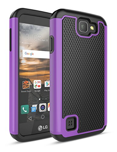Virgin Mobile (LG K3 Fall, bis [Stoßdämpfung] Drop Schutz Dual Layer Hybrid Gummi Kunststoff Impact Defender Rugged Slim Hard Case Cover für LG K3 Boost Mobile/Virgin Mobile LS450, Schwarz/Violett)