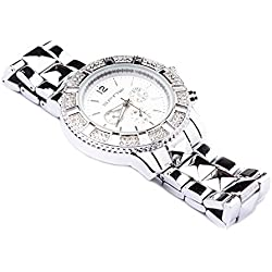 Men's Silver Round Chunky Iced Out Quartz Link Strap Dial Hip Hop Bling Watch