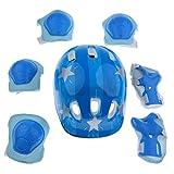 MagiDeal Skateboard Protektoren Set für Kinder 3-12 Jahren, Helm Knieschoner Ellenbogenschoner Handgelenkschoner für Fahrrad, Skateboard, Roller Skate - Blauer Stern, S