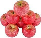 JEDFORE 8PCS Simulazione Artificiale Falso Mela Rossa Set Falso Fruit for Home House Kitchen Decorazione della Festa Nuziale Fotografia