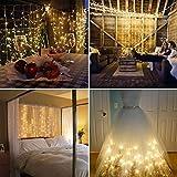 IMAGE 300LED 3M*3M 8 Modes Solaire LED Guirlandes Lumineuses Rideau Fenêtre Chaîne de Lampes pour Décoration Noël Fête Mariage Anniversaire Maison Jardin - Blanc Chaud