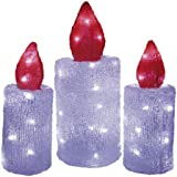 Heitronic LED Acryl Kerzen 3er Set für Außen