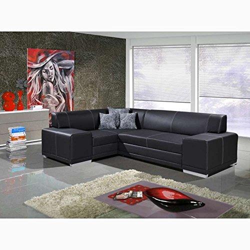 Justhome vera verso divano angolare divano letto finta pelle nero (axlxl): 73x175x265 cm penisola a sinistra