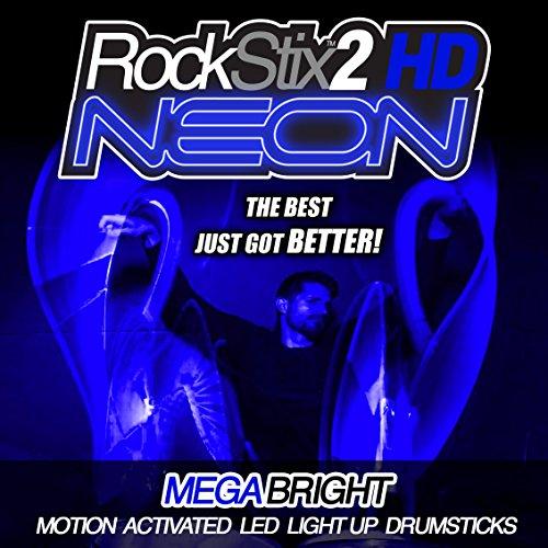 BLAU - ROCKSTIX2 HD NEON - ultrahell leuchtende LED DRUMSTICKS
