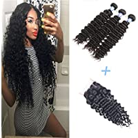 Brazilian Virgin Hair Deep Wave, Deep Curly 3 bundles With 1 (4*4 ) Free Part Lace Closure, Elees Hair 100% Human Virgin Hair Extensions Natural Color (12 12 12 +10)