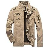 PZJ Uomo Cappotto Militare, Retro Vintage Giacca Manica Lunga Cappotto Jacket di Cotone Bombardiere Giacche Casual Tops