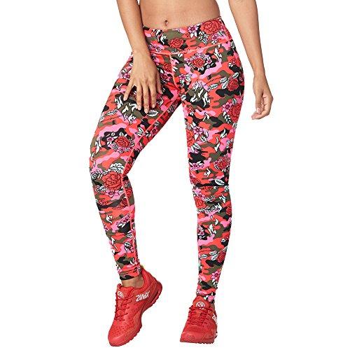 Zumba Damen Kompressions-Leggings mit breitem Taillenbund, sportlicher Aufdruck, Capri-Leggings, Damen, Women's Wide Waistband Print Legging with Compression, pink floral, X-Large -