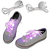 1 Paar = 2 Stück Weiße Nylon Schnürsenkel In Pink LED Hell Leuchtend 110 CM Lang Von Amathings