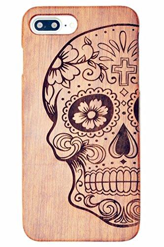 RoseFlower® iPhone 7 Plus / iPhone 8 Plus (5,5 Zoll (14 cm) Holzhülle - Palisander-Mandala-Blume - NatürlicheHandgemachteBambus / Holz Schutzhülle Palisander-Schädel