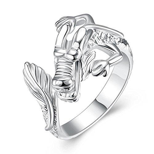 WANGJIA Ringe Dragon Carving Open 925 Sterling Silber Ring Wasserhahn 925 Silber Ringe Für Frauen Männer Schmuck Schmuck Aneis Bague
