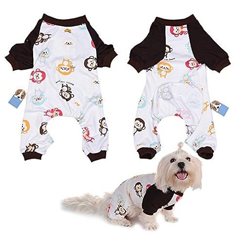 Per Hunde/Katze Pyjamas mit Niedlich Affe Muster und Four Feet Design, Weich Alle Jahreszeiten Haustier Schlafanzug Jacken für Kleine und Mittelgroße Hunde - XS/S/M/L/XL