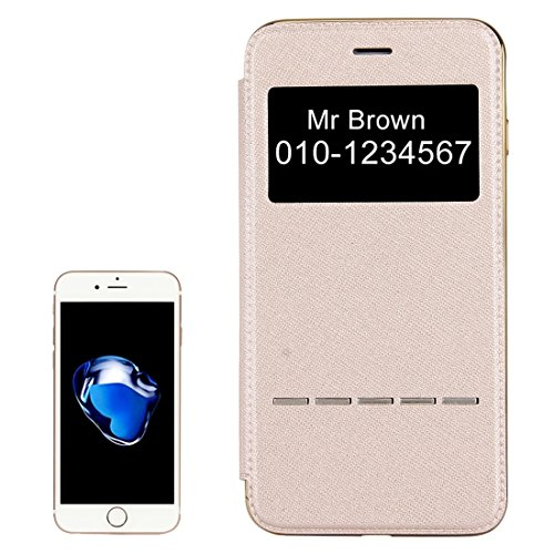iPhone Case Cover Pour iPhone 7 Plus Croix Texture électrolytique TPU Back Cover Horizontal Flip étui en cuir avec affichage d'appel ID ( Color : Rose gold ) Gold