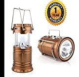#4: Mobizu Led Camping Backpacking Lantern Lamp USB Port Solar Powered Collapsible Lightweight for Camper Hiking Outdoor Night Light (Assorted Color)