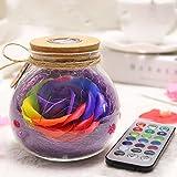 Colorful led Rose Bottle Light,Night Light Romantic Mood Light Wishing Bottle Eternal Flowers for Bedroom Party Table Decor