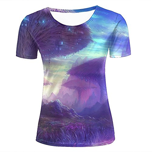 qianyishop Mens Womens 3d Print T Shirtsgiant tree houses in the fantasy land Graphic Fashion Couple Tees Top Short Sleeve D