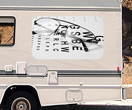3D Autoaufkleber Arzt Auge Augenarzt Brille Test Beruf schwarz weiß Wohnmobil Auto Fenster Sticker Aufkleber 21A1061, Größe 3D sticker:ca. 45cmx27cm