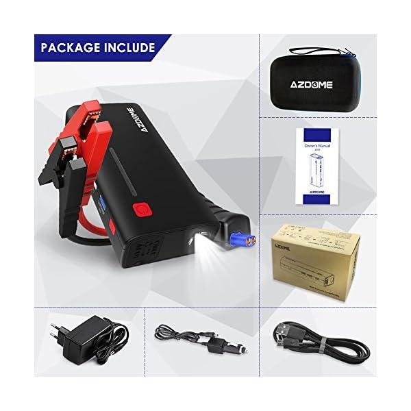Azdome Arrancador de Coche Booster 800A 18000mAh,Arrancador Batería Diesel Portátil,Jump Starter Profesional Arranque Potente(6.5L Gas o 5.5L Diesel),para Moto,Tractor,Barco,Furgoneta y Camiones