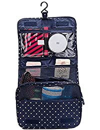 Navy Dot : Multifunctional Portable Hanging Toiletry Bag / Cosmetic Bag / Makeup Bag For Travel With Hanger/Hook...