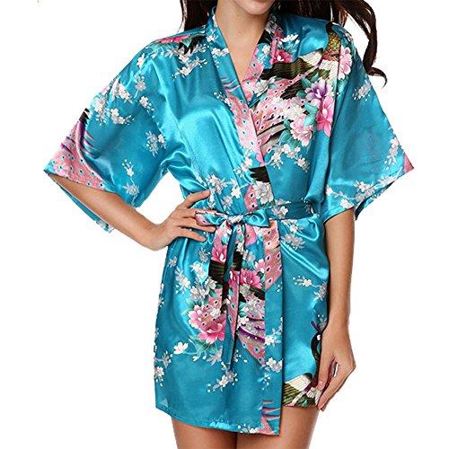 VILLAVIVI Vestido Párrafo Corto Mujer Kimono Pavo