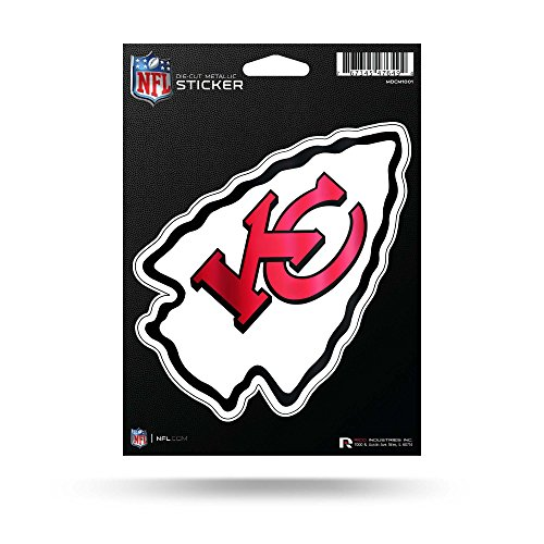 NFL Kansas City Chiefs Metallic StickerDie Cut Metallic Aufkleber, Rot, 14,5 x 19,1 cm