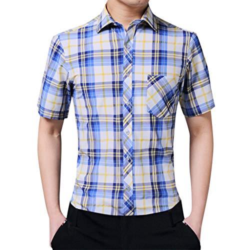 Crazboy Herren Sommer Lose Beiläufige Tägliche Kurzarm Gitter Hemd Lässige Bluse(44,Gelb-B) (Halo-kostüm Verkauf Für)