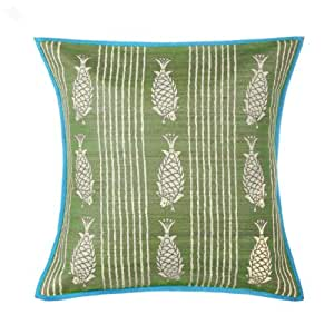 Cushion Cover Fabindia Silk Light Green Samudra Print