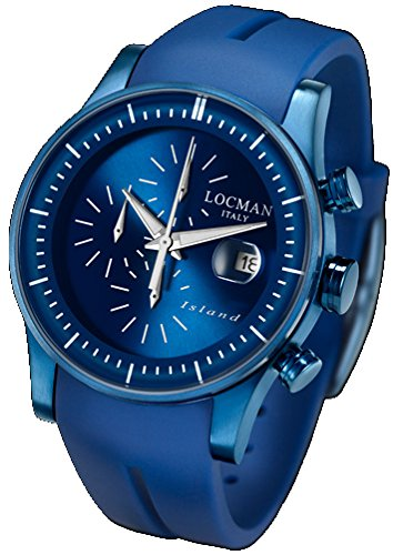 Locman Island/Men's Watch/dial Blue/Steel case, Titanium and PVD Blue/Silicone Strap ref. 0620BLBW-BLWSIB